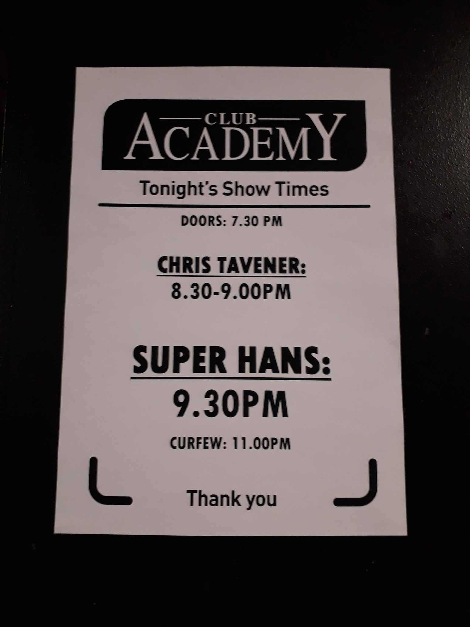 Chris Tavener Supporting Super Hans at Manchester Club Academy